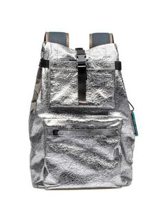 silver backpack front