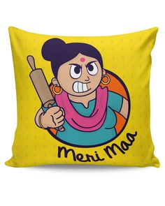Meri Maa | Angry Mom Quirky Mothers Day Cushion Cover
