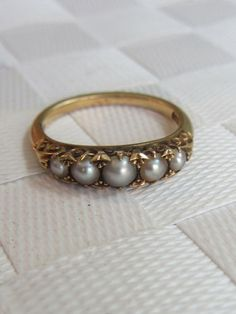 Fine 18K Gold Five Stone Seed Pearl Victorian Ring