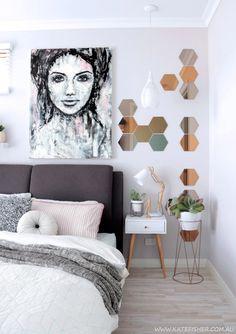 "Australian artist Kate Fisher ""Imperfection"" original painting in modern scandi / scandinavian bedroom."