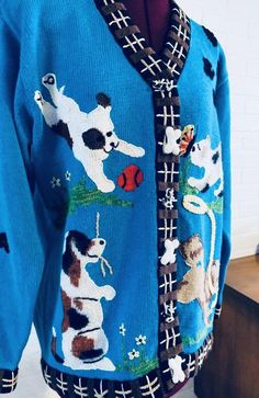 90s Cardigan Sweater Storybook size M L XL image 3
