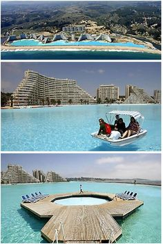 If you like doing laps in the swimming pool, you might want to stock up on the energy drinks before diving in to this one. It is more than 1,000 yards long, covers 20 acres, has a 115ft deep end and holds 66 million gallons of water. The Guinness Book of Records named the vast pool beside the sea in Chile as the biggest in the world. This pool took five years to build, cost nearly £1billion and the annual maintenance bill will be £2million. Its turquoise waters are so crystal clear that you…