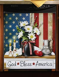 God Bless America Patriotic Kitchen Dishwasher Magnetic Cover Country NEW