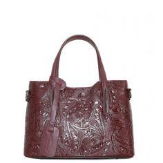 159cebed1d Stredné Talianske casual kožené kabelky cez plece bordové luxusné Carina  kvetmi b