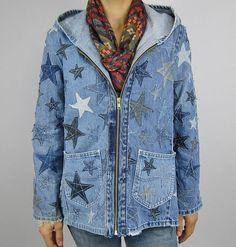 Amazing CUSTOM Recycled Denim Hooded Art Jacket Upcycled Jeans