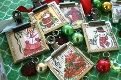 Vintage charms can add so much to a package or hanging from the tree! Or, add these sweet vintage treasures to a chain and wear your holiday spirit!