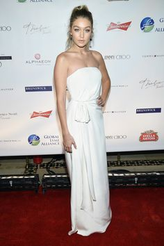 Best dressed - Gigi Hadid in a white gown. Click through to see who joins her in this week's list