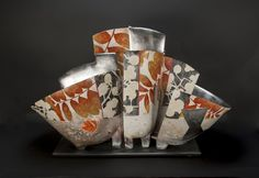 "Bennett Bean- Triptych.. at Gravers Lane Gallery  28.5"" x 18.5 ""x 15.5""  earthenware, gilded, painted, pit fired"