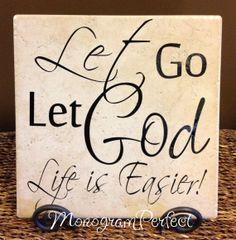 Let Go, Let God Life is Easier Decorative Tile