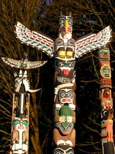 A Totem pole is an artistic way that some Pacific Northwest Coastal tribes use to tell a story.