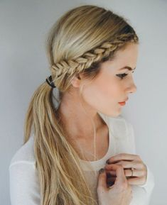 10 Easy Braided Hairstyles For 2016 hair hair ideas hairstyles hair tutorials braided hairstyles for 2016 hair ideas for 2016 easy braided hairstyles hair tutorials for 2016 womens hairstyles 2016 Lazy Girl Hairstyles, Pretty Hairstyles, Simple Braided Hairstyles, Hairstyles 2016, Braided Updo, Side Plait Hairstyles, Simple School Hairstyles, Side Braid Ponytail, Braided Pony