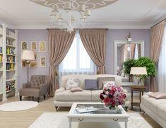 Бежевый и фиолетовый цвет в интерьере гостиной