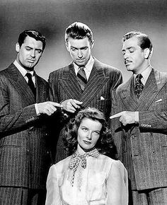 Cary Grant, Jimmy Stewart, John Howard & Katharine Hepburn - The Philadelphia Story Old Hollywood Stars, Hollywood Actor, Hollywood Actresses, Classic Hollywood, Actors & Actresses, Old Movie Stars, Classic Movie Stars, Classic Films, The Philadelphia Story