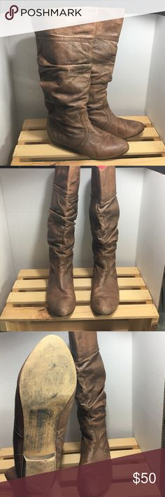 Steve Madden boots Slouchy brown leather Steve Madden boots with a slight heel. Hardly worn! Steve Madden Shoes Heeled Boots