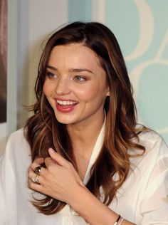 miranda kerr, ye of always perfect hair and makeup and clothes and everything pretty much