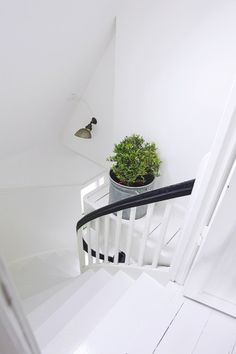 [black white grey green] ---> a winning combination! Entry Stairs, Entry Hallway, House Stairs, Hall Interior Design, Interior Styling, White Stairs, Hallway Inspiration, Stair Landing, White Rooms