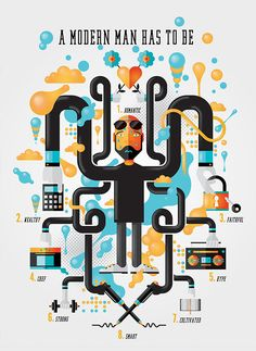 A modern man has to be - flat and colorful infographic created a vector illustration.