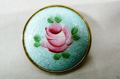 Round Blue Cloisonne Enamel Pin Brooch Pink Rose Flower Pin Brooch #unknown Pink Rose Flower, Brooch Pin, Flowers, Blue, Ebay, Enamel, Jewelry, Art, Brooch