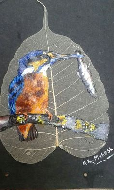 King fisher painting on peepal leaf.........