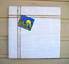 Bulletin Board made with burlap with an accent of natural jute twine, classic designed pin or memo board for your office, bedroom or kitchen by jensdreamdecor on Etsy