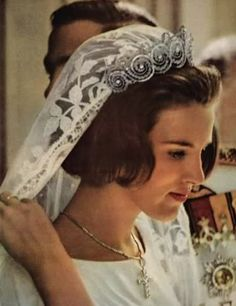Queen Anne-Marie of Greece with the Khedive of Egypt tiara on her wedding day.