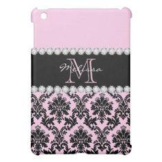 Baby Pink Cream black floral Damask Diamonds iPad Mini Case - monogram gifts unique design style monogrammed diy cyo customize