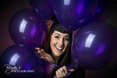 College Graduate in her cap and gown with school color balloons! Senior Photo by Bryan's Photography. Cap And Gown Pictures, Prom Pictures, Graduation Pictures, Senior Portraits, Senior Pictures, Senior Pics, Picture Poses, Picture Ideas, Photo Ideas