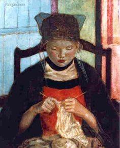 Bécassine au tricot par Fredetick Carl Frieseke (1874-1939) peint en 1934 ©