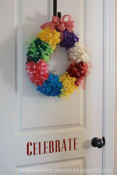 A different twist on the Birthday Balloon wreath ~ clusters of color!