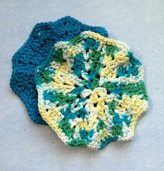 Crochet Washcloth Set of 2 Dishcloths, Spa Washcloths, Blue and Yellow Green Multi, Ready to Ship
