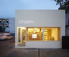 space design creates a simple common room cafe in bangkok party space design has created a simple white construction for common room cafe in bangkok.party space design has created a simple white construction for common room cafe in bangkok. Interior Design Minimalist, Cafe Interior Design, Minimalist Bedroom, Minimalist Home, Coffee Cafe Interior, Interior Logo, Retail Interior, Contemporary Interior, Interior Architecture