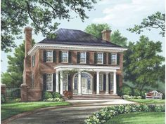 A covered porch supported by columns embellishes a picture-perfect Federal-Adams facade. The great room features a central fireplace and two...