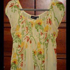 Sweet empire, capped sleeve blouse w elastic waist Capped sleeve baby doll, empire waist blouse.  So, so pretty! Unique Spectrum Tops Blouses