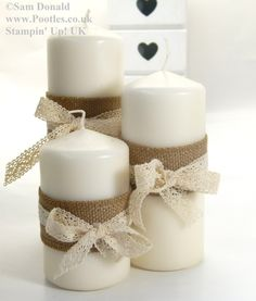 Stampin' Up! UK Advent Countdown 23 Ribbon Candle Wraps Well, it's December today. Advent Candles, Christmas Candles, Christmas Wood, Pillar Candles, Christmas Crafts, Christmas Decorations, Burlap Crafts, Diy And Crafts, Baptism Candle