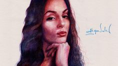 Drawing Time Lapse - Watercolor Portrait of Girl - Портрет Девушки аквар...