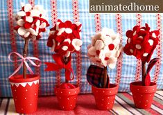 Red and white flower pots