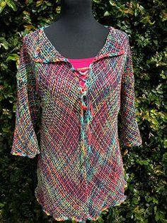 Lola Telares Tapestry Weaving, Loom Weaving, Hand Weaving, Cardigan, Weaving Patterns, Textiles, Knit Crochet, Knitting, Fabric