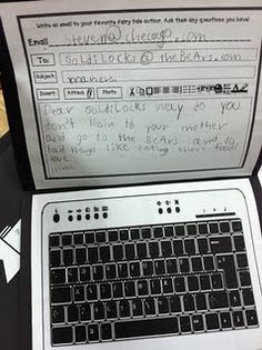 pretend laptops with an email to a character--so cute!