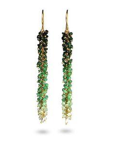 #Valentine's Wishlist <3 #BritishDesign : Emerald green dangly gold drop earrings