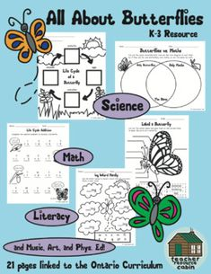 All About Butterflies (Grades Ontario Curriculum) by Teacher Resource Cabin Science Curriculum, Science Resources, Science Activities, Learning Resources, Teacher Resources, Science Fun, Teaching Science, Kindergarten Lesson Plans, Preschool Lessons