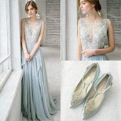 Our blue Annalise wedding shoes designed by Bella Belle  are perfect with this vintage inspired blue gown.