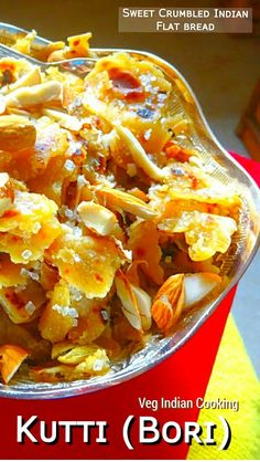 Sindhi Kutti - Punjabi Choori (Sweet Crumbled Indian Flat Bread)   Kutti aka Bori aka Punjabi Choori/ Churi is a sweet dish recipe made with crumbled Indian flat bread which is stir fried in butter or in a clarified butter i.e ghee and flavored with cardamom powder and garnished with dry fruits .  #indianfood #indianrecipes #foodblogger #breakfast #kutti #choori #bori #sindhifood #punjabirecipes #sindhicuisine #sindhirecipes