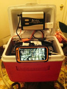 A nice little power box for camping where there is no electricity or vehicle access. You need a small 6 pack cooler a 51r-60 car battery a 400+ watt power inverter 2-4 small screws and a screwdriver P