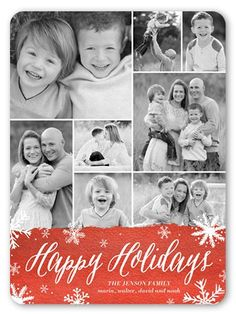 Holiday Cards: Holiday Flurries,  Card, Rounded Corners, Red