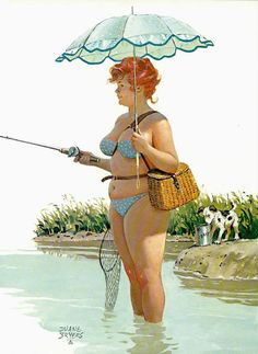 Hilda goes fishing in river poster pin up girl Duane Bryers classic Vintage Pinup Art illustration watercolor Reproduction of Canvas 451 Pin Up Vintage, 50s Vintage, Arte Pin Up, Pin Up Art, Dita Von Teese, Sexy Pin Up Girls, Rolf Armstrong, Estilo Pin Up, Humor