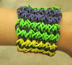 Bracelet made with rubber bands.   Jo wants to make them...Yikes!!!