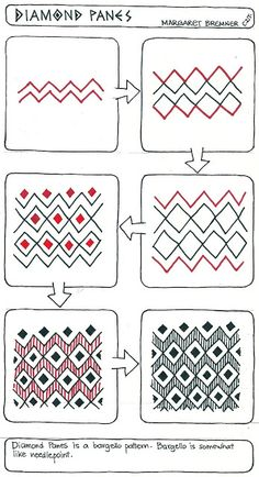 Enthusiastic Artist: DIAMOND PANES tangle instructions by Margaret Bremmer, Certified Zentangle Teacher Tangle Doodle, Tangle Art, Zen Doodle, Doodle Art, Zentangle Drawings, Doodles Zentangles, Doodle Drawings, Easy Zentangle, Doodle Designs
