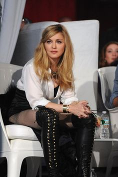 Madonna's simple pinned-to-the-side hairstyle