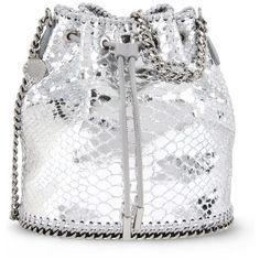 Stella Mccartney Silver Falabella Metallic Alter Snake Bucket Bag (8,365 MXN) ❤ liked on Polyvore featuring bags, handbags, shoulder bags, silver, python handbags, silver handbags, silver purse, white purse and silver shoulder bag