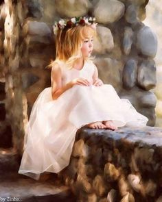 """Deep in Thought"" digital artwork portrait by Lisa Derfler Precious Children, Beautiful Children, Beautiful Babies, Little Girl Photos, Little Girls, Children Photography, Photography Poses, People Photography, Amazing Photography"